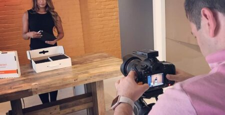 Model Francy Morales in a Stop Motion Video for Ipads