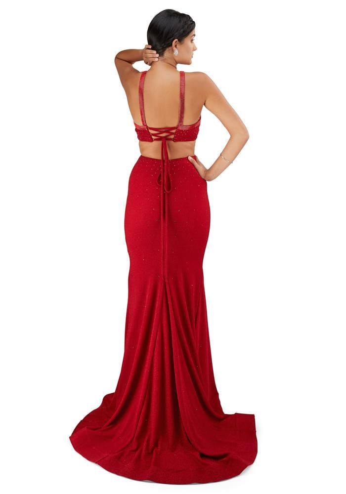 red mermaid prom dress photoshoot