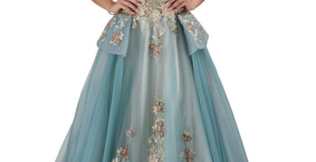 Front Image of a green dress for prom