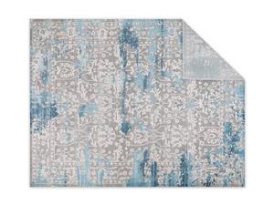 overhead folded corner rug shot. Product Photography