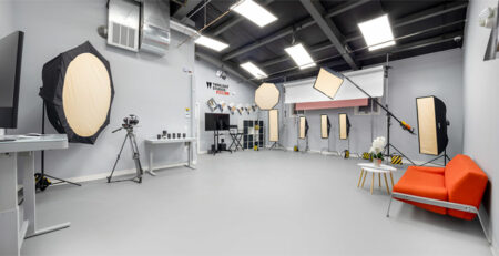"""Our photography studio is 140"""" wide which is designed for over sized products shoot. We have all the lightning and photography equipment available in our photography studio."""
