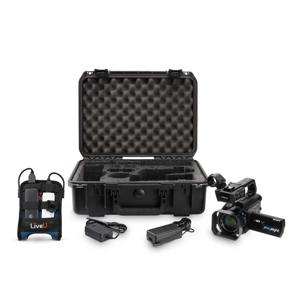 Camera, Transmitter and Tripod Photography on White Background