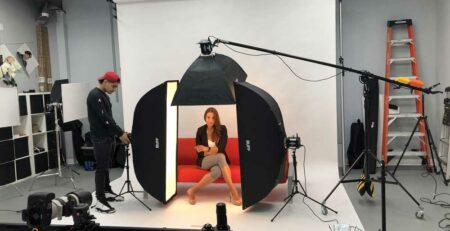 Behind the Scenes of a Photoshoot with a model on action at Isa Aydin Studio Photography