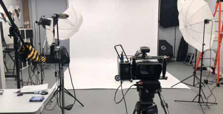 Videography Setup with white background