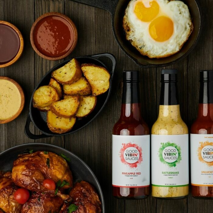 Creative food product photography on wooden background with props
