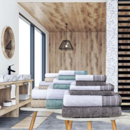 set of towels on the table, creative mood image in a lifestyle setting