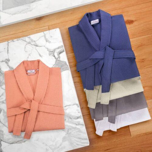 creative bathrobe shot in a lifestyle setting