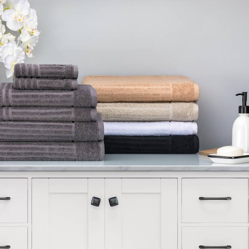 towels sets on table in the bathroom