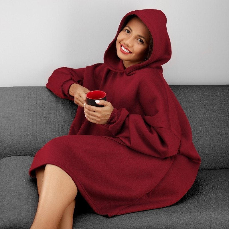 Oversized Red Hoodie Photoshoot on a model