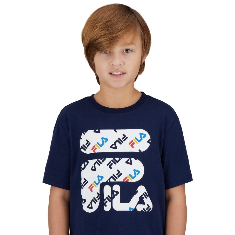 Fila kids clothing photoshoot with a model on a white background
