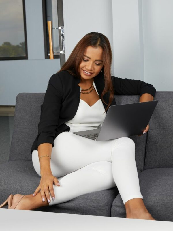 White Leggings Photoshoot with Model in an Office Setup