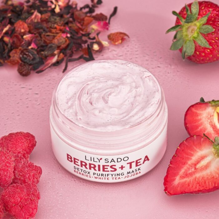 Cosmetics Product shot with strawberries on pink background