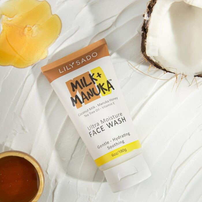 face wash beauty product shot on swatch coconut honey