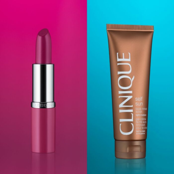 Clinique Cosmetic Photography on a Pink and blue background