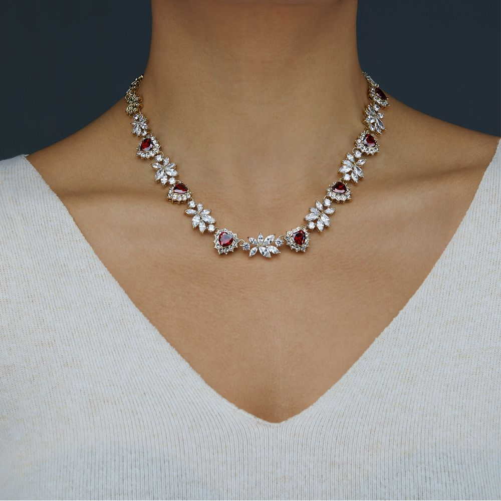 Necklace Photoshoot on a model on a grey background for eCommerce listing