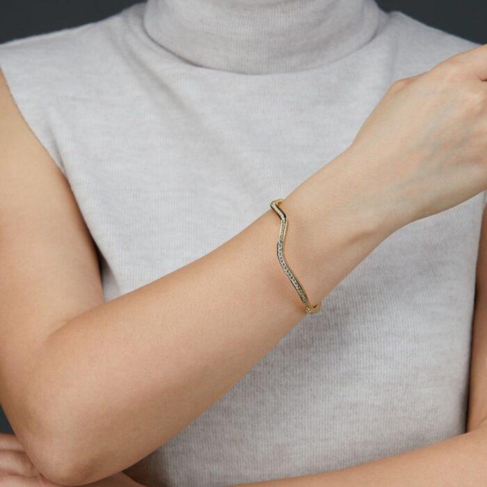 Gold Bracelet Photoshoot on a model