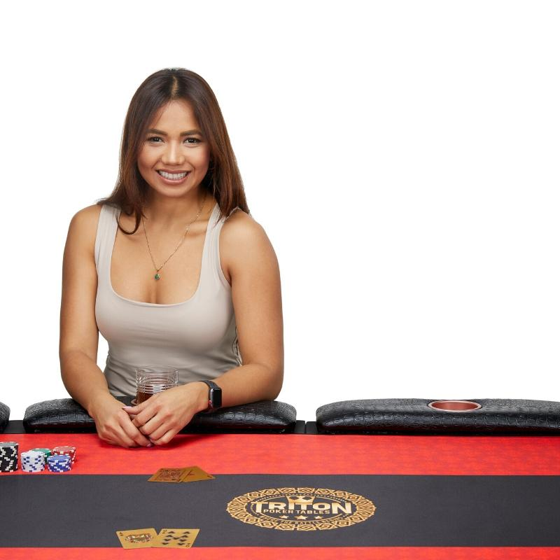 Woman Sitting in front of a Poker Table - Lifestyle Image with Model at Isa Aydin Studio Photography