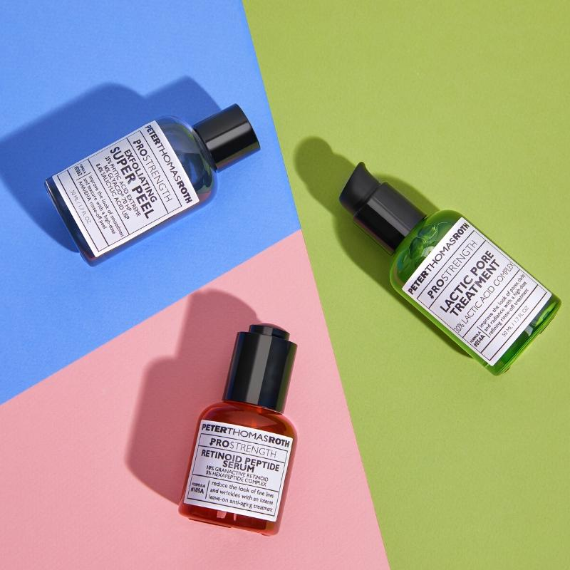 Peter Thomas Roth Bottles on a colorful background, Studio Photography in New jersey