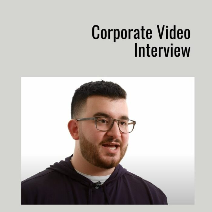 video interview on a white background video production