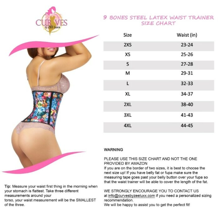 Size Chart of a waist trainer for eCommerce listing