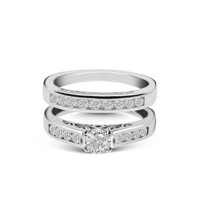 Diamond Bridal Set Rings Photoshoot on a white background
