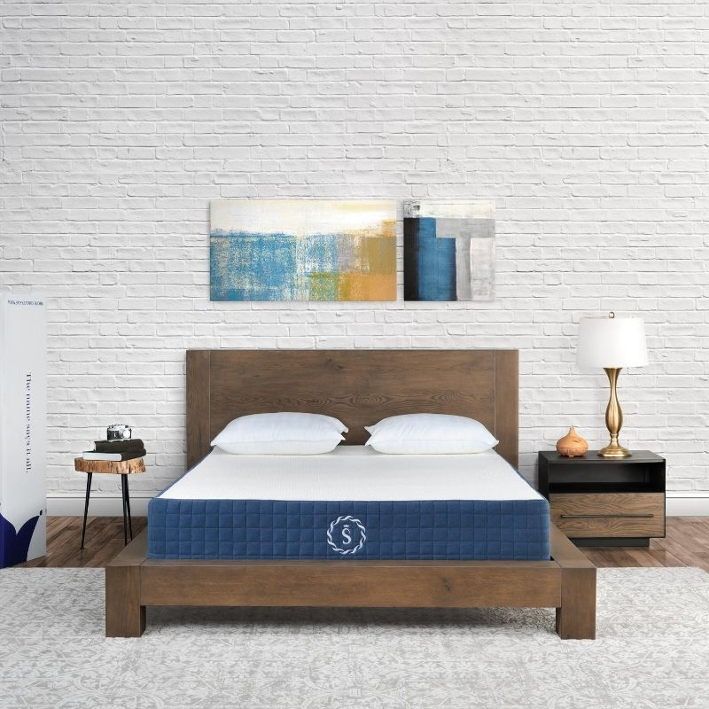 Composite shot of mattress in a bedroom