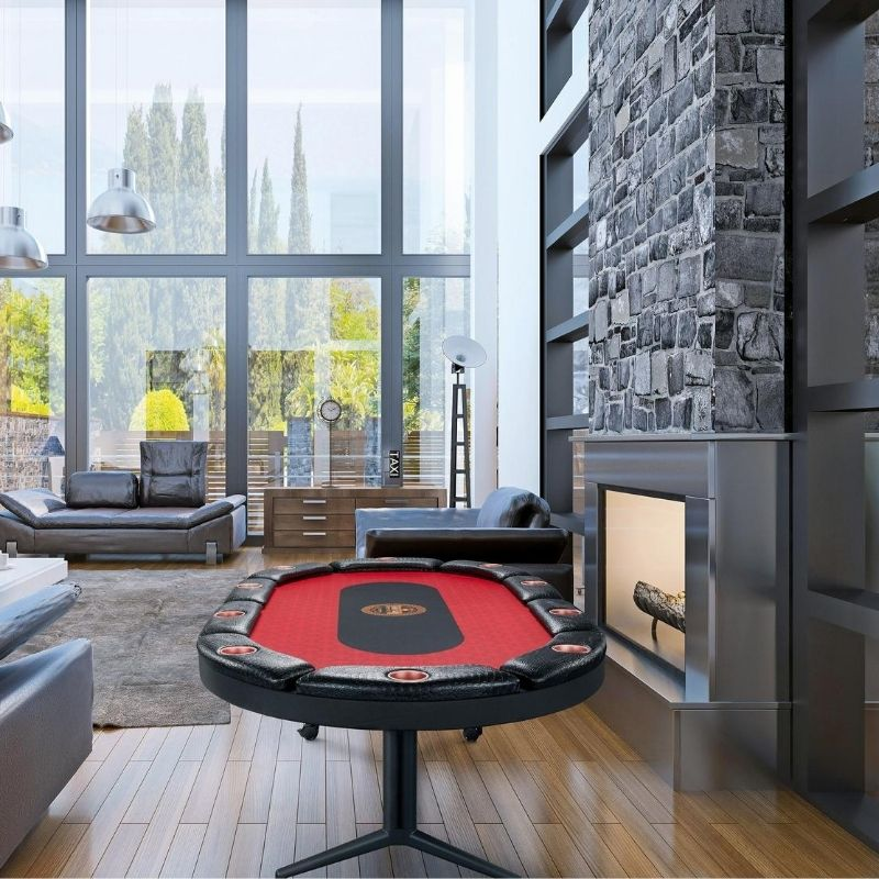 Composite shot of a poker table