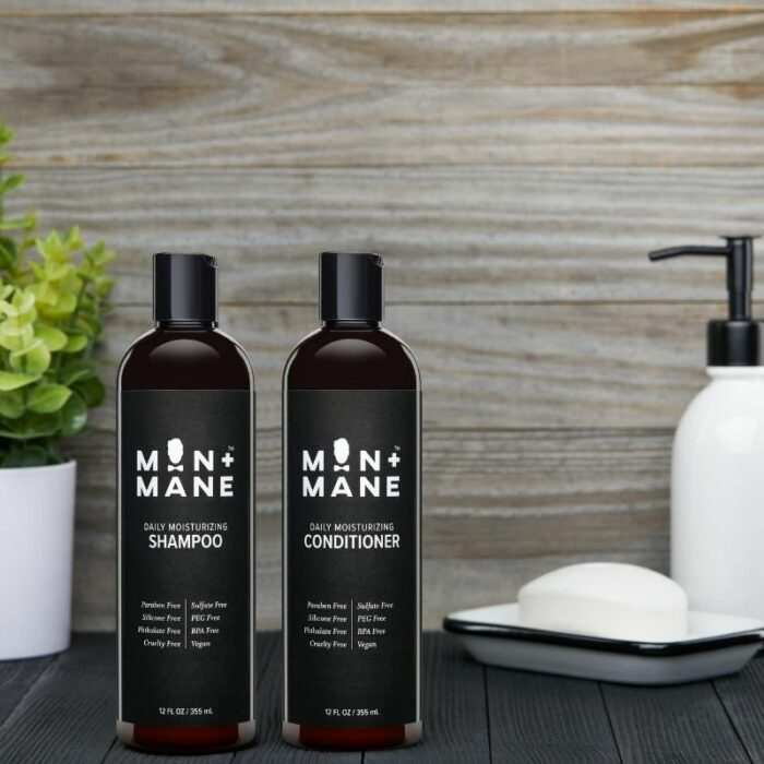 Male Shampoo and Conditioner image in a bathroom setup