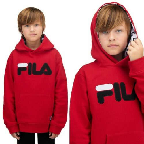 Fila kids hoodie photography with model on white background