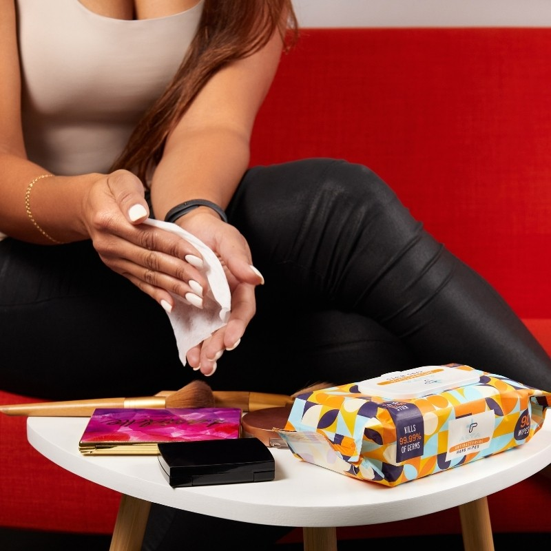 Hand Wipes Photoshoot with a model in a lifestyle setup