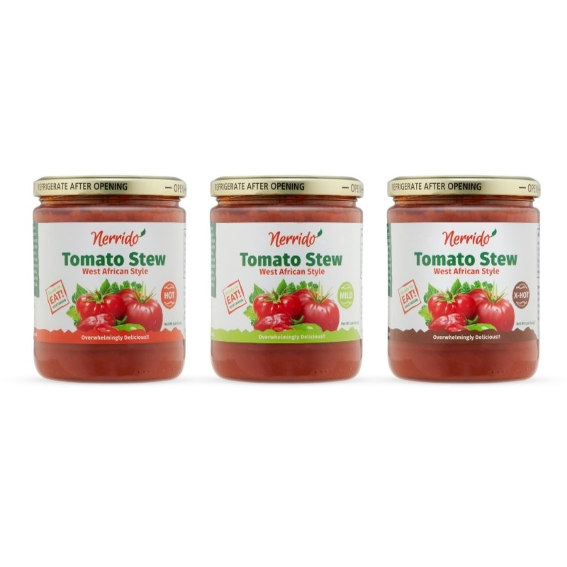 African Tomato Stew Jar on a white background Photo