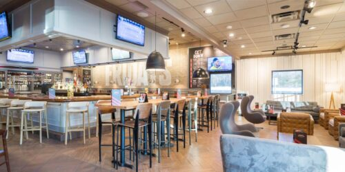 Interior photography of a restaurant, seating setup and food counter