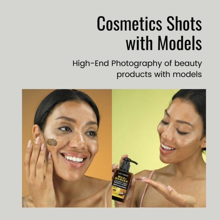Cosmetics shots with models