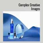 Complex Creative Images of cosmetic products with glass and paper backgrounds